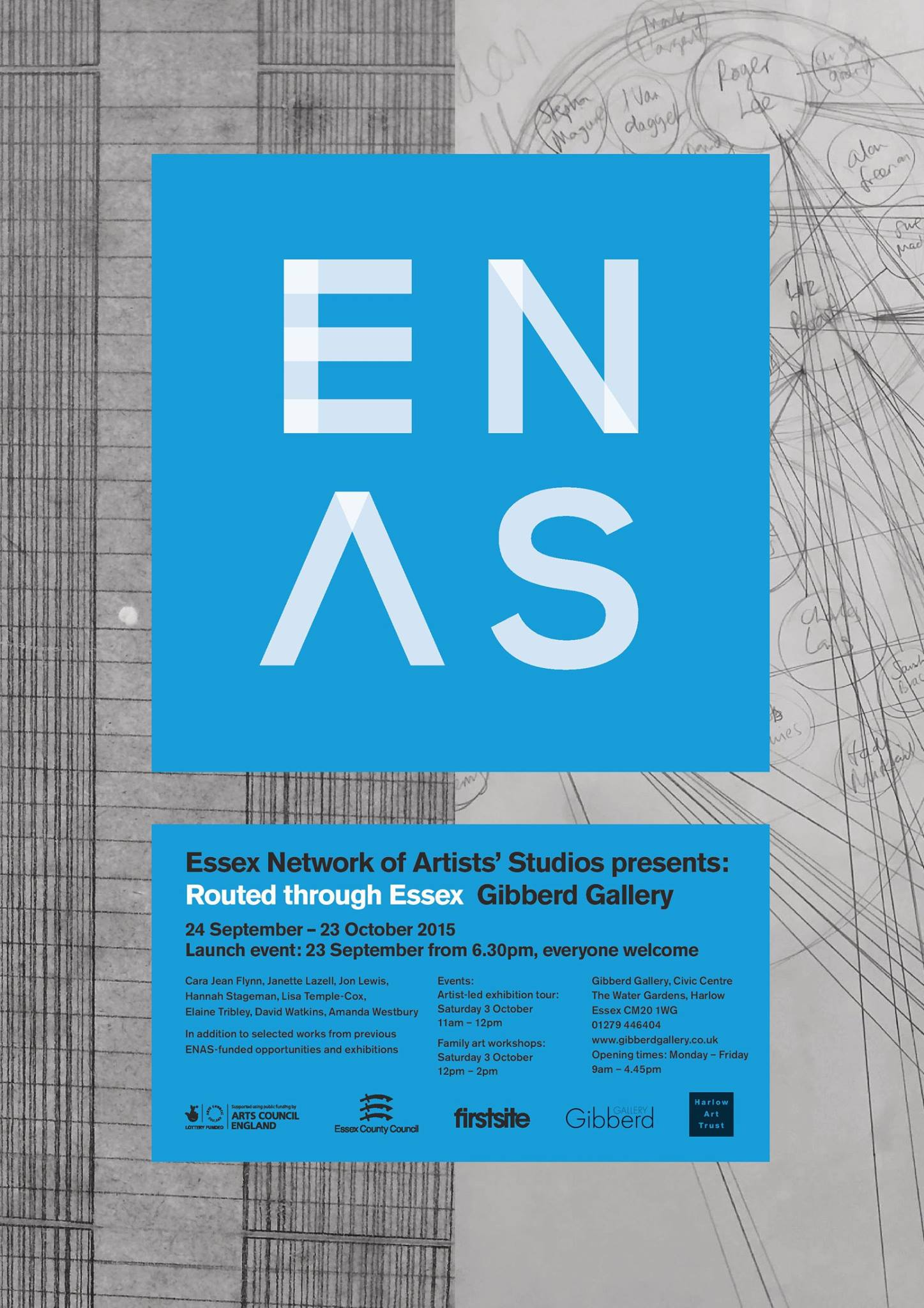 Exhibition poster and publication line, Essex Network of Artists' Studios. Designed by Creative Co-op.